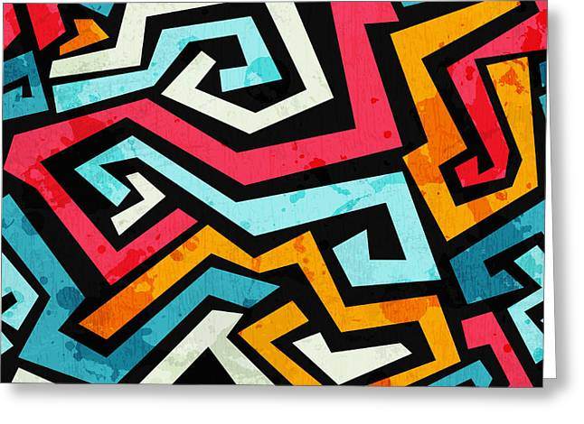 Bright Graffiti Seamless Pattern With Greeting Card
