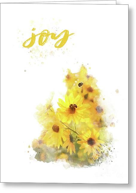 Bright Watercolor Print, Floral Wall Art, Joy Greeting Card