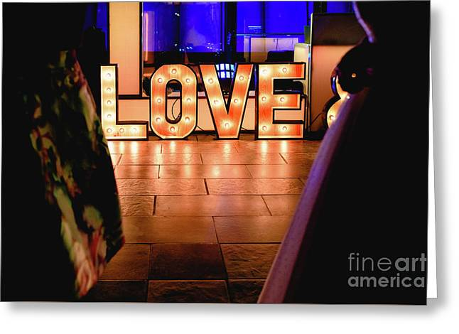 Bright Wooden Letters With Word Love In A Party Greeting Card