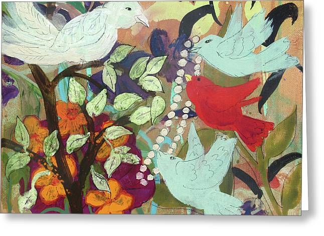 Greeting Card featuring the painting Bringin' Momma Beads by Robin Maria Pedrero