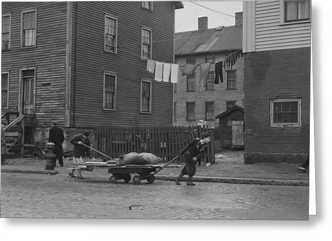 Bringing Home Some Salvaged Firewood In Slum Area In New Bedford  Massachusetts Greeting Card