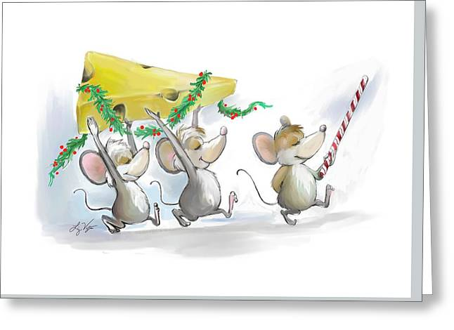 Bringing In The Christmas Cheese Greeting Card