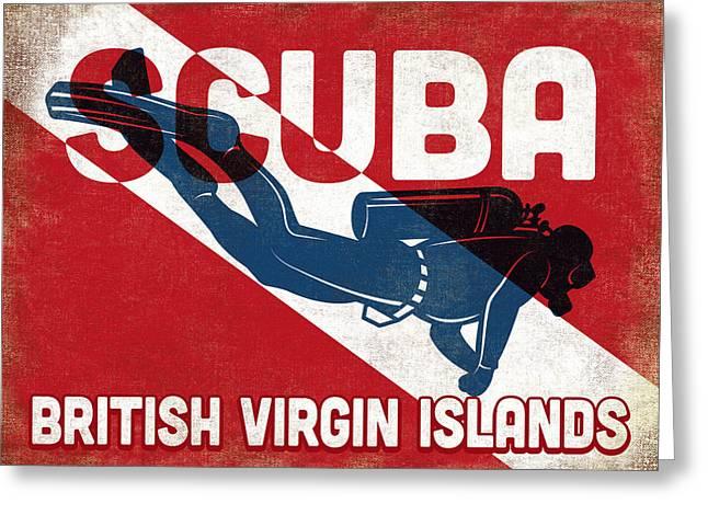 British Virgin Islands Scuba Diver - Blue Retro Greeting Card by Flo Karp