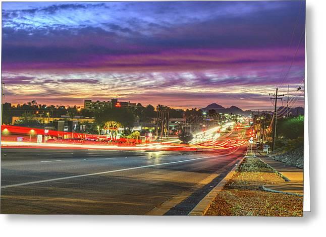 Broadway Sunset, Tucson, Az Greeting Card
