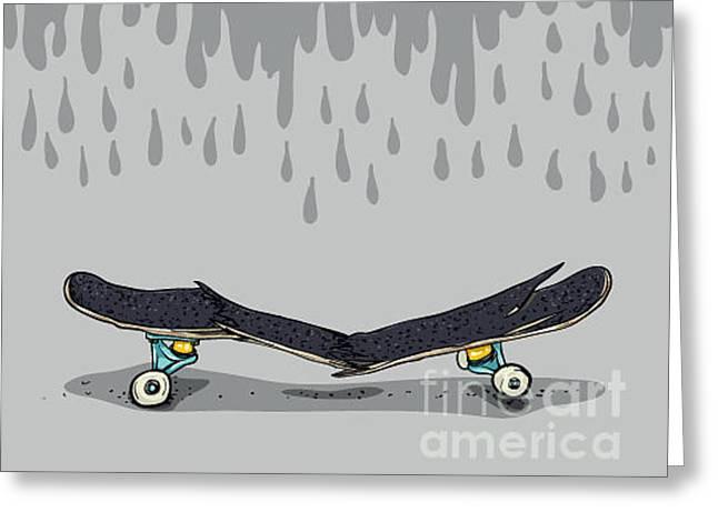 Broken Skateboard Greeting Card