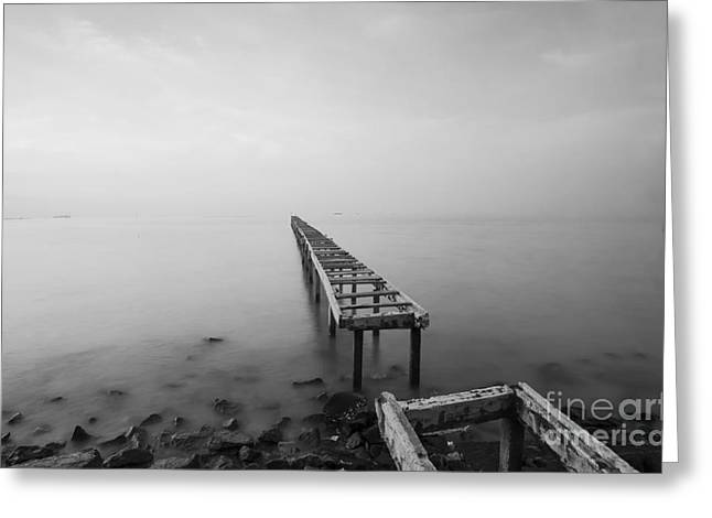 Broken Wood Bridge And Waves Crashing Greeting Card by Nelzajamal