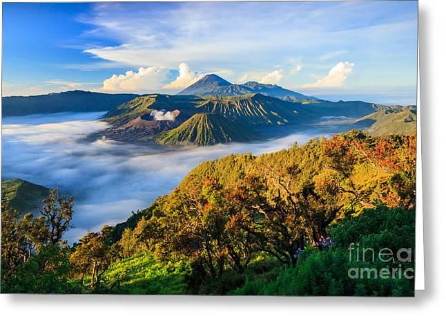 Bromo Volcano At Sunrise,tengger Semeru Greeting Card