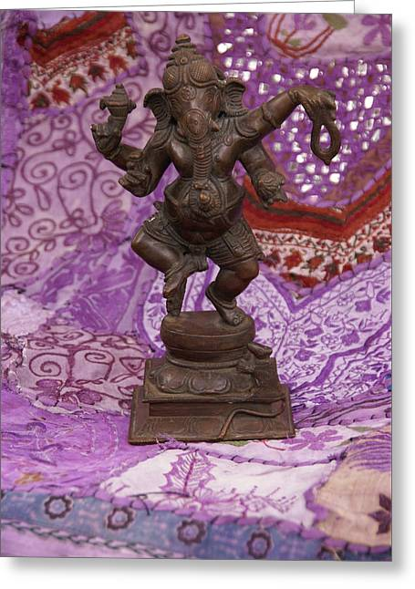Bronze Ganesha Dancing, On Purple Greeting Card