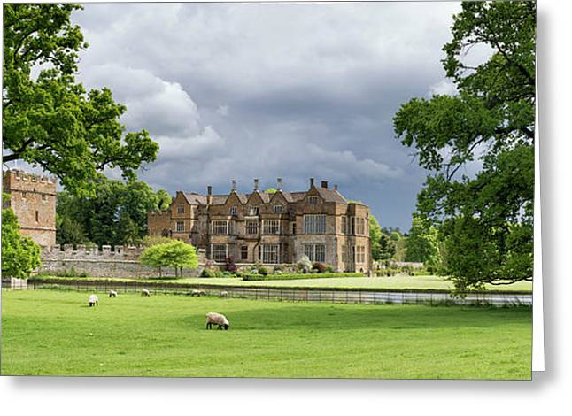 Broughton Castle In Spring Panoramic Greeting Card by Tim Gainey