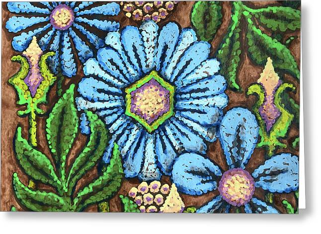 Brown And Blue Floral 1 Greeting Card