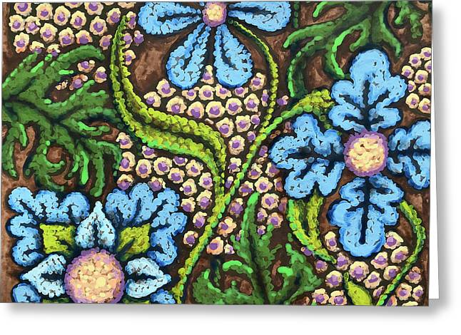 Brown And Blue Floral 2 Greeting Card