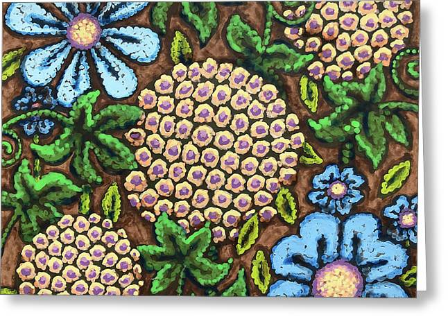 Brown And Blue Floral 3 Greeting Card