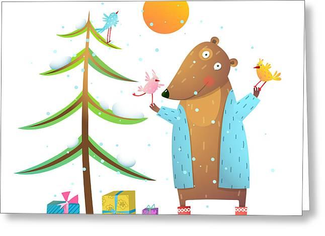 Brown Bear Wearing Warm Winter Coat Greeting Card