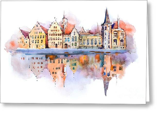 Bruges Cityscape Watercolor Drawing Greeting Card