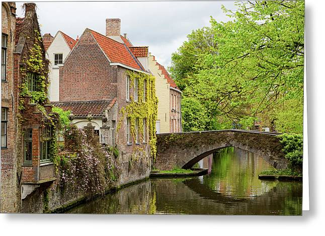 Greeting Card featuring the photograph Bruges Footbridge Over Canal by Nathan Bush