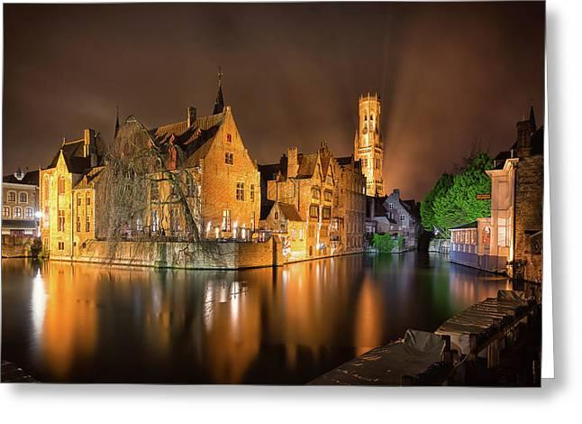 Brugge Belgium Belfry Night Greeting Card