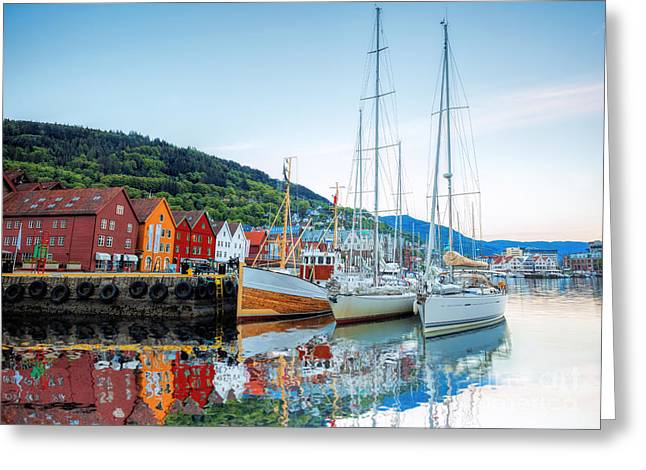 Bryggen Street With Boats In Bergen Greeting Card