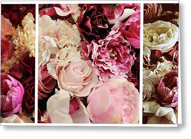 Rose Collage Triptych Greeting Card