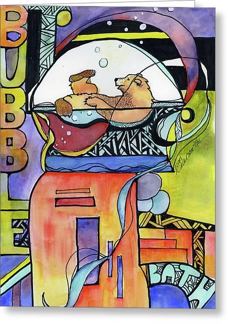 Bubble Bath Bear Greeting Card
