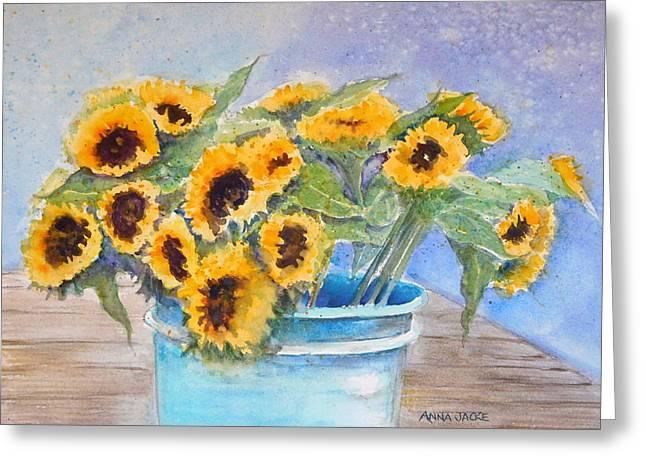 Bucket Of Sunflowers Greeting Card