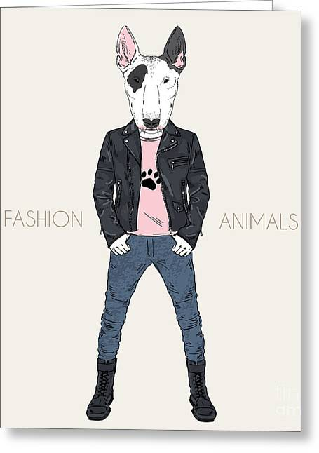 Bull Terrier Doggy Dressed Up In Punk Greeting Card