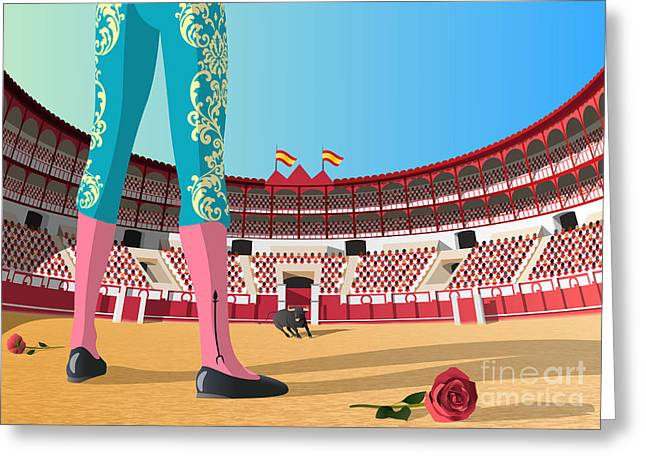 Bullfighter Versus Angry Bull In Arena Greeting Card