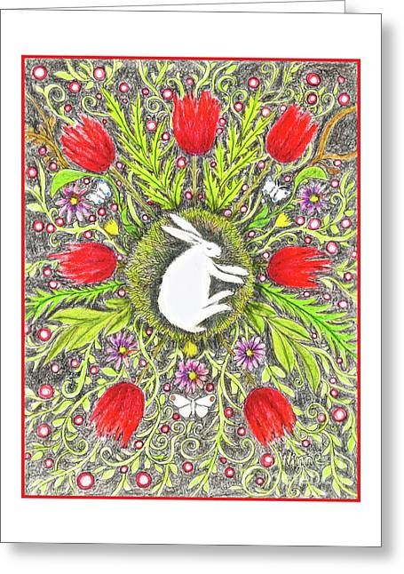 Bunny Nest With Red Flowers And White Butterflies Greeting Card