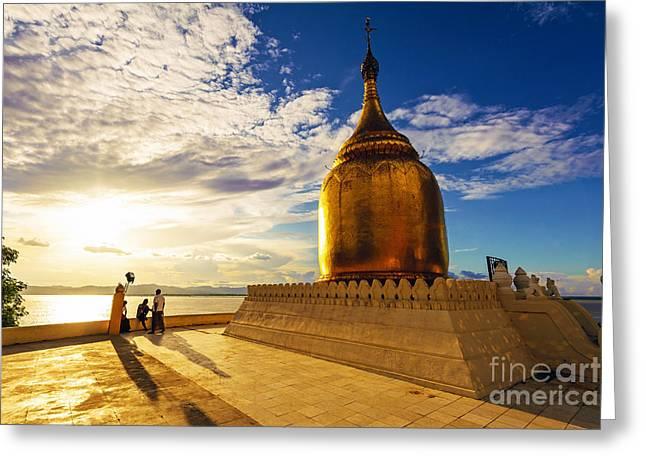Buphaya Pagoda In Bagan, Myanmar At Greeting Card by Richard Yoshida