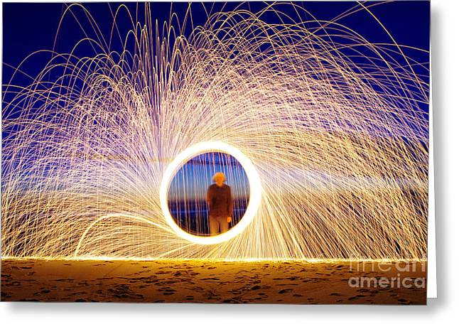 Burning Steel Wool Spinned Near The Greeting Card