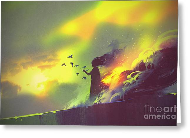 Burning Woman Standing Against Cloudy Greeting Card by Tithi Luadthong