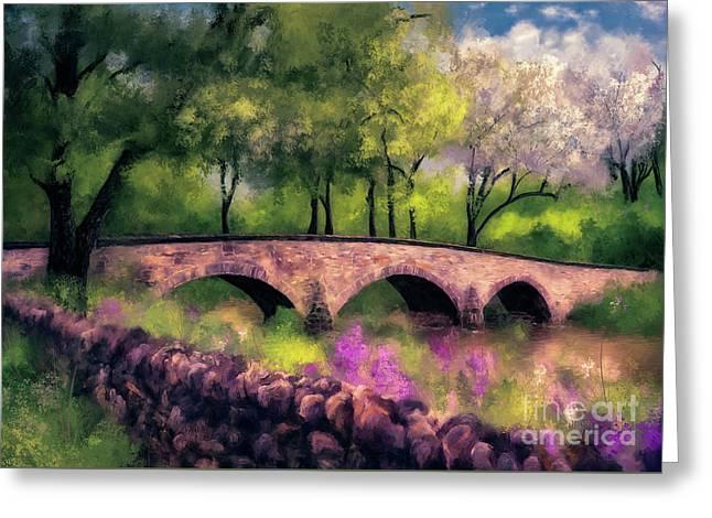 Burnside Bridge In Spring Greeting Card