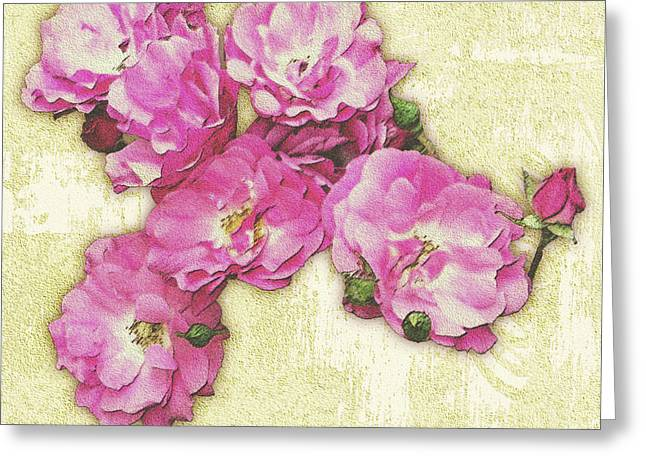 Bush Roses Painted On Sandstone Greeting Card