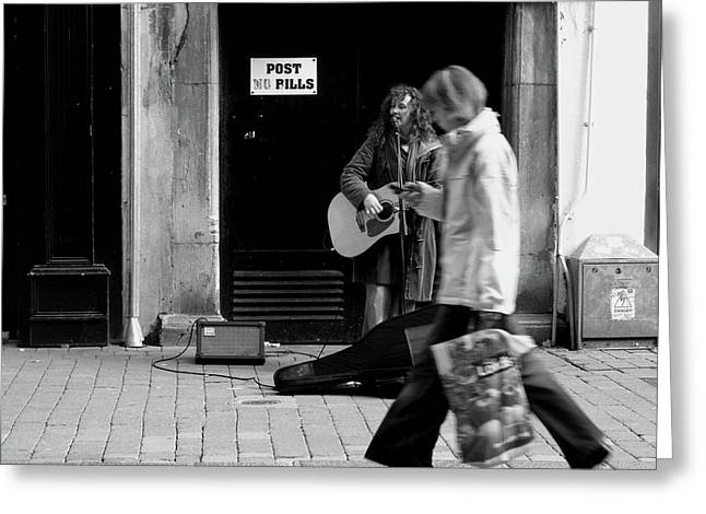 Greeting Card featuring the photograph Busker by Edward Lee