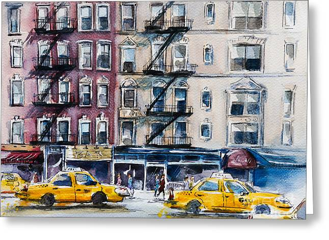 Busy New York Street. Watercolor Sketch Greeting Card