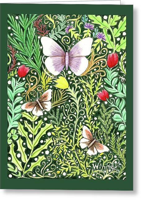 Butterflies In The Millefleurs Greeting Card