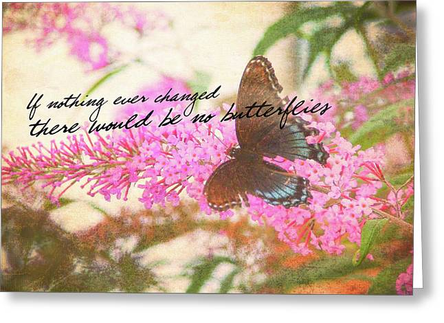 Greeting Card featuring the photograph Butterfly Kisses Quote by JAMART Photography