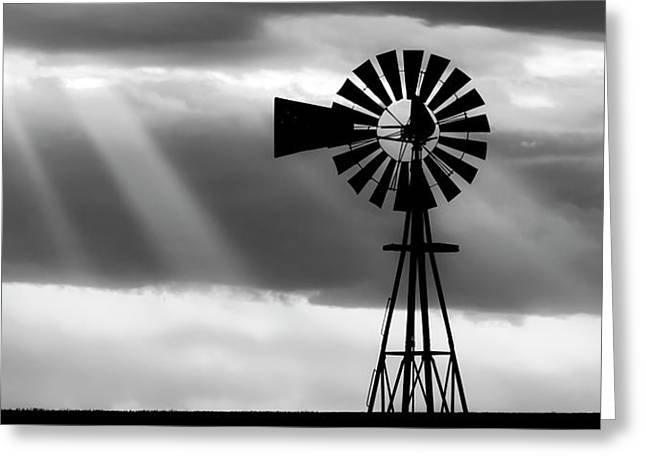 Bw Windmill And Crepuscular Rays -01 Greeting Card