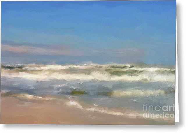 By The Sea Under Blue Skies Greeting Card