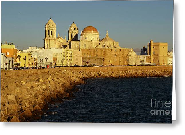 Greeting Card featuring the photograph Cadiz Cathedral From Southern Field Spain by Pablo Avanzini
