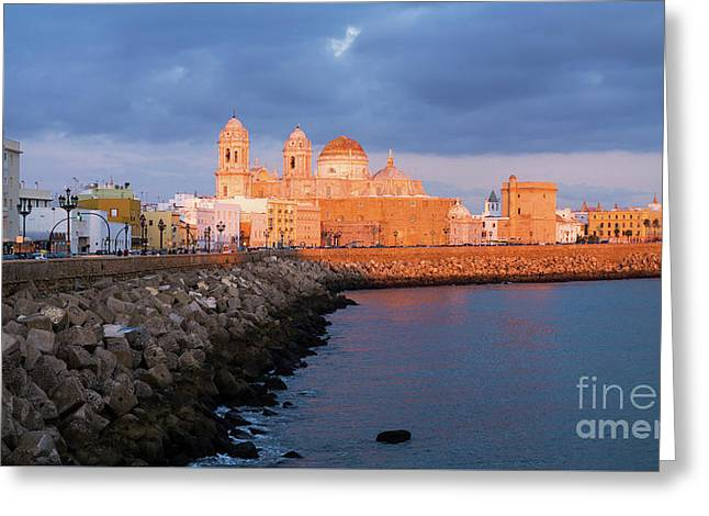 Greeting Card featuring the photograph Cadiz Skyline And Cathedral Andalucia Spain by Pablo Avanzini