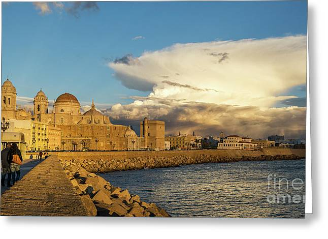Greeting Card featuring the photograph Cadiz Skyline And Cathedral Under Cumulonimbus by Pablo Avanzini