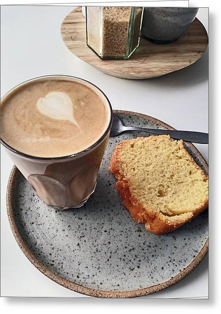 Cafe. Latte And Cake.  Greeting Card