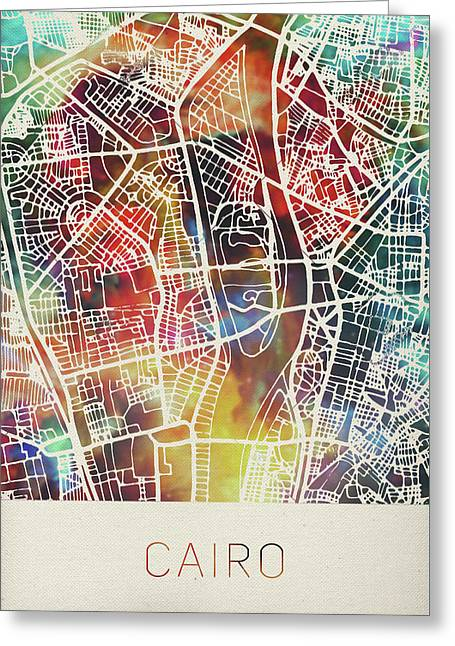 Cairo Street Map Watercolor Greeting Card