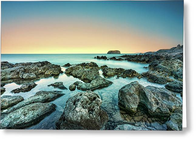 Greeting Card featuring the photograph Calm Rocky Coast In Greece by Milan Ljubisavljevic