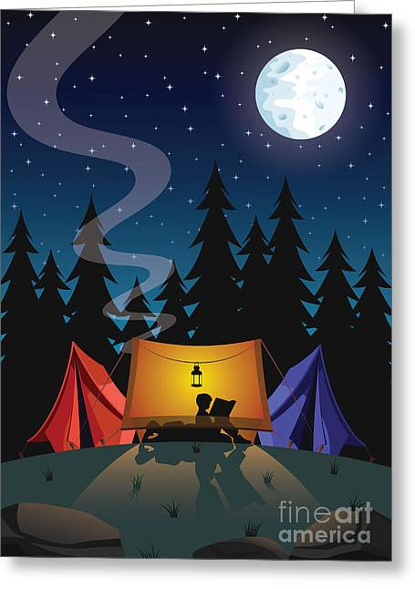 Camping Greeting Card by Nikola Knezevic
