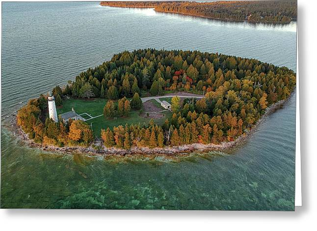 Greeting Card featuring the photograph Cana Island Aerial by Adam Romanowicz