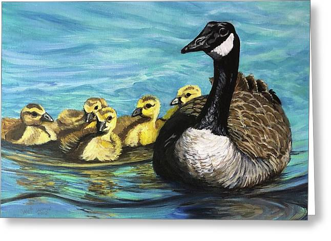 Canadian Goise And Goslings Greeting Card