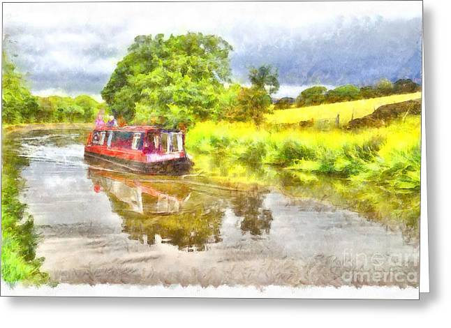 Canal Boat On The Leeds To Liverpool Canal Greeting Card