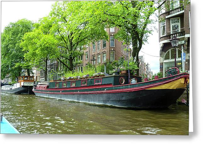 Canal Boats In Amsterdam - 2 Greeting Card