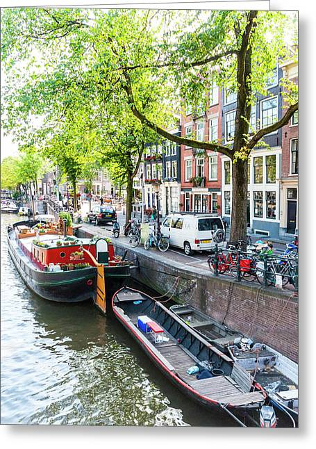 Canal Boats In Amsterdam Greeting Card